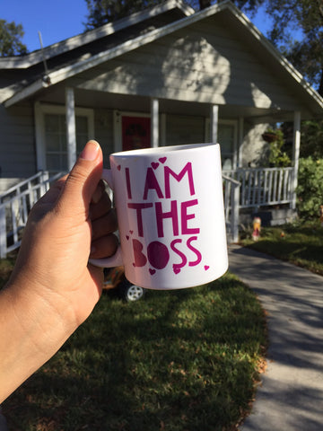 I am the Boss™ Mug (purple hearts)