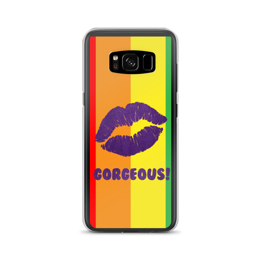 Gorgeous!™ Rainbow Stripes Background + Purple Leather Lips Samsung Case