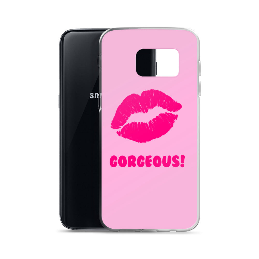 Gorgeous!™ Neon Pink Lips on Pink Samsung Case