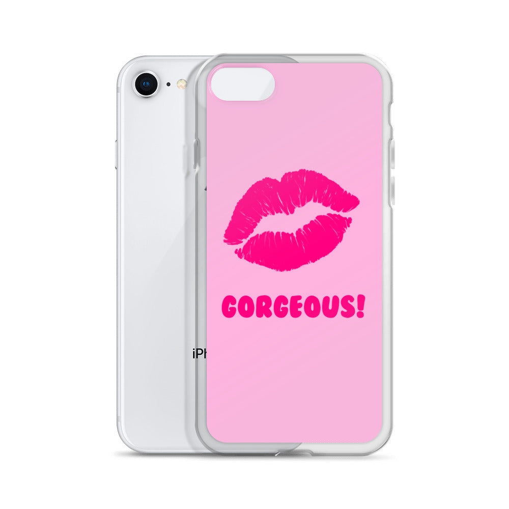 Gorgeous!™ Neon Pink Lips on Pink iPhone Case