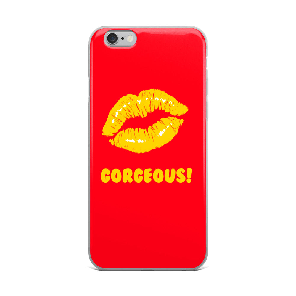 Gorgeous!™ Red Background + Golden Yellow Lips iPhone Case
