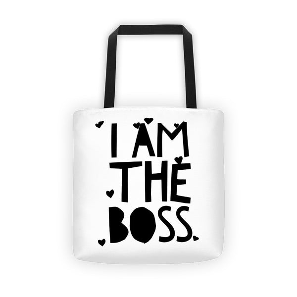 """I am the Boss"" white tote bag (hearts design)"