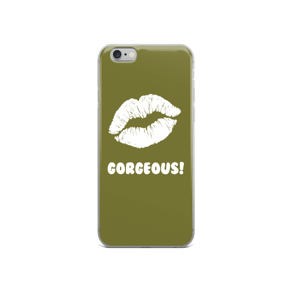 Gorgeous!™ Olive Green Background + White Lips iPhone Case