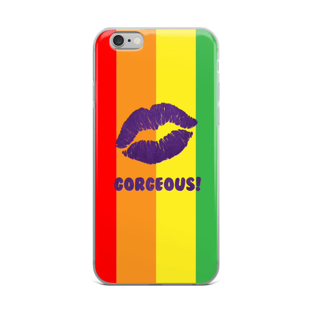 Gorgeous!™ Rainbow Stripes Background + Purple Leather Lips iPhone Case