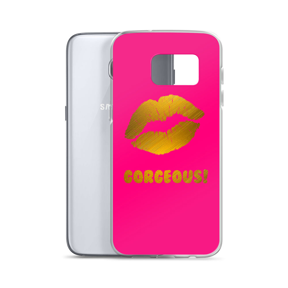 Gorgeous!™ (Neon Red Background + Gold Plated Lips) Samsung Case