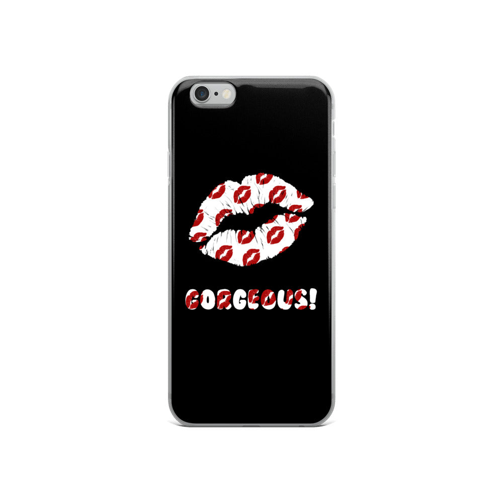 Gorgeous!™ (Black Background + Lips on Lips/Smooches) iPhone Case
