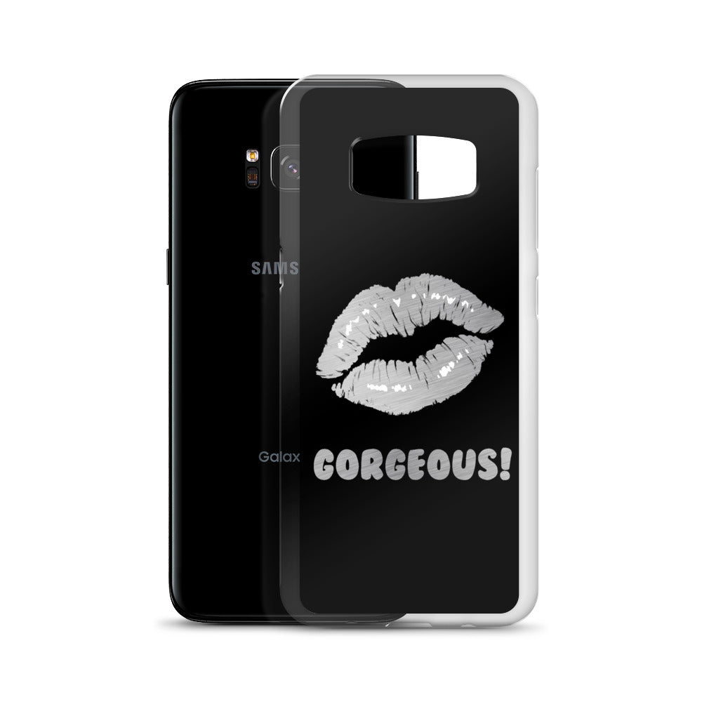 Gorgeous!™ (Black Background + Brushed Steel Lips) Samsung Case