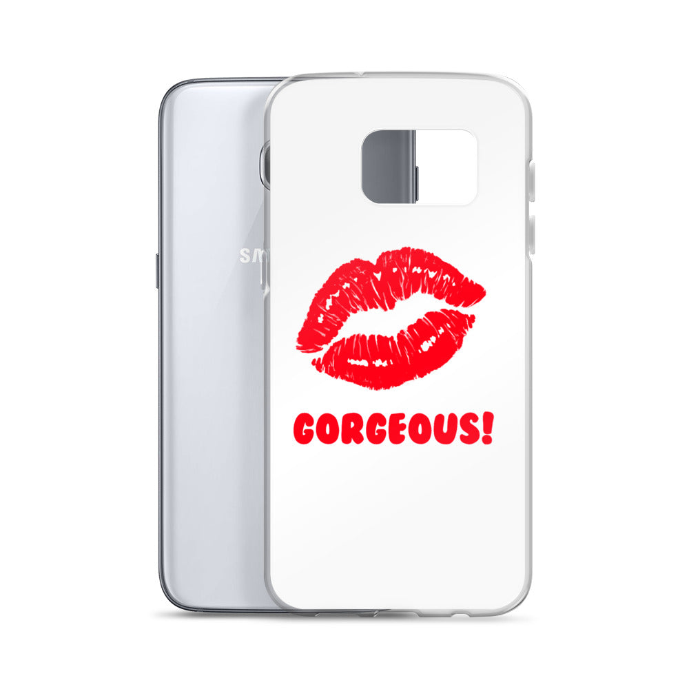 Gorgeous!™ White Background + Red Lips (Peppermint) Samsung Case