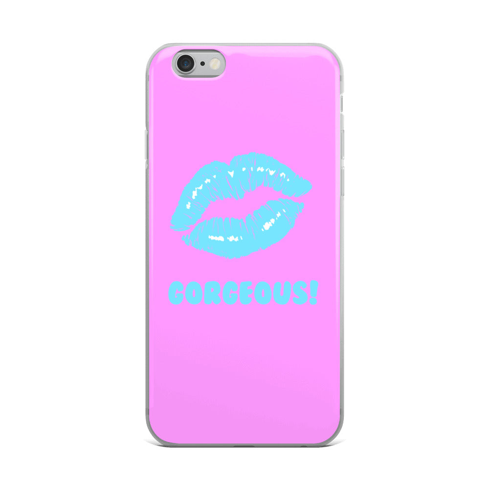 Gorgeous!™ Purple Background + Sky Blue Lips iPhone Case