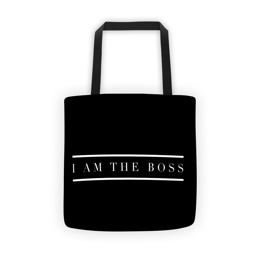 """I am the Boss"" black tote bag (between the lines design)"