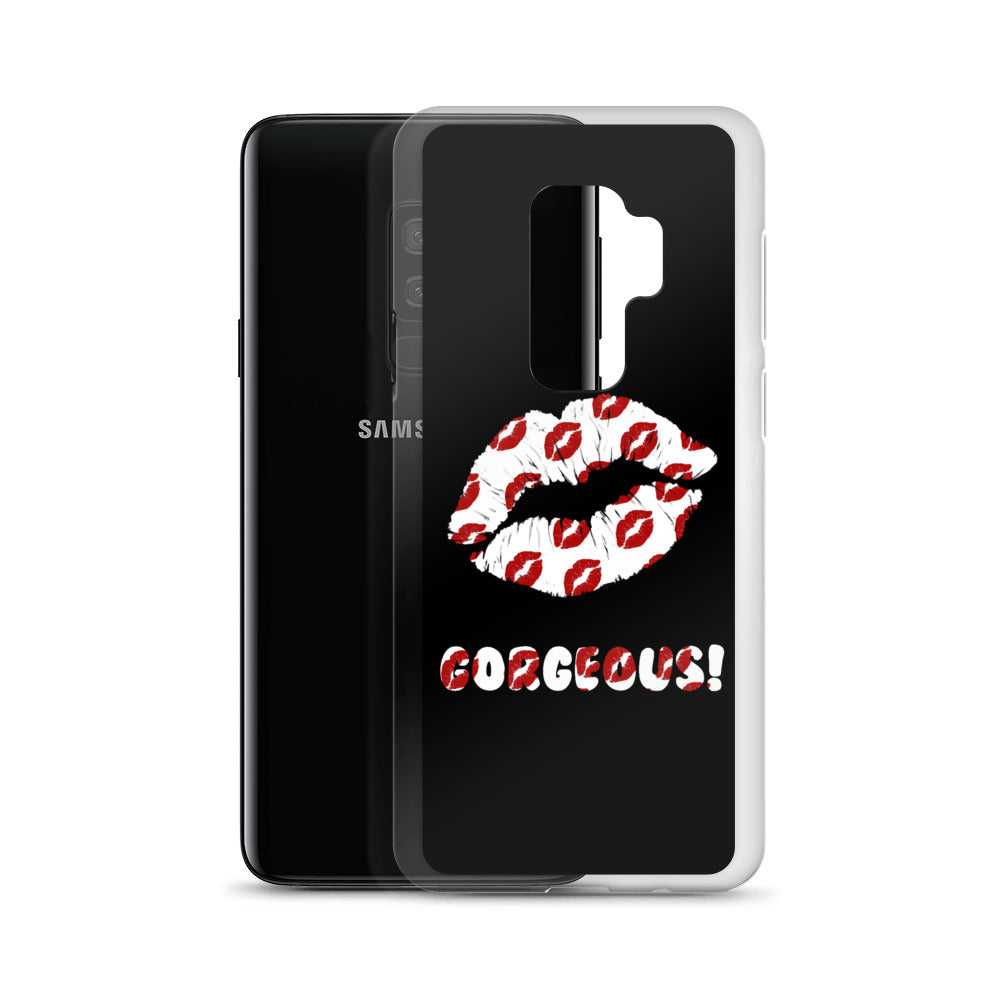 Gorgeous!™ (Black Background + Lips on Lips/Smooches) Samsung Case
