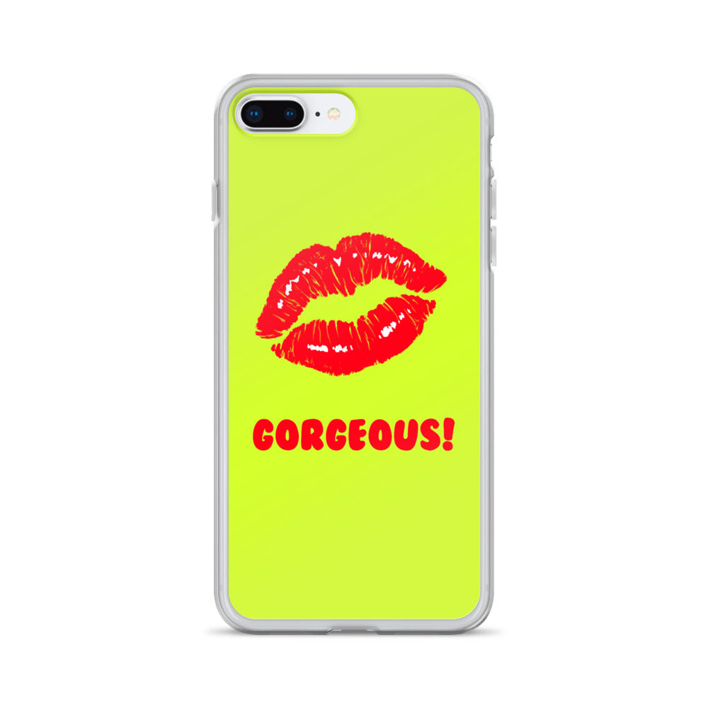 Gorgeous!™ Lime Green Background + Red Lips (Harmony) iPhone Case
