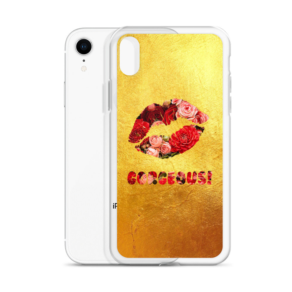 Gorgeous!™ (Gold + Red and Pink Flower Lips) iPhone Case