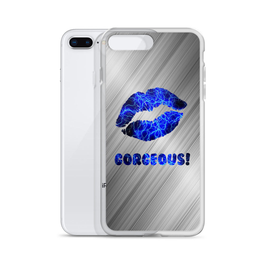Gorgeous!™ (Brushed Steel + Electric Lips) iPhone Case