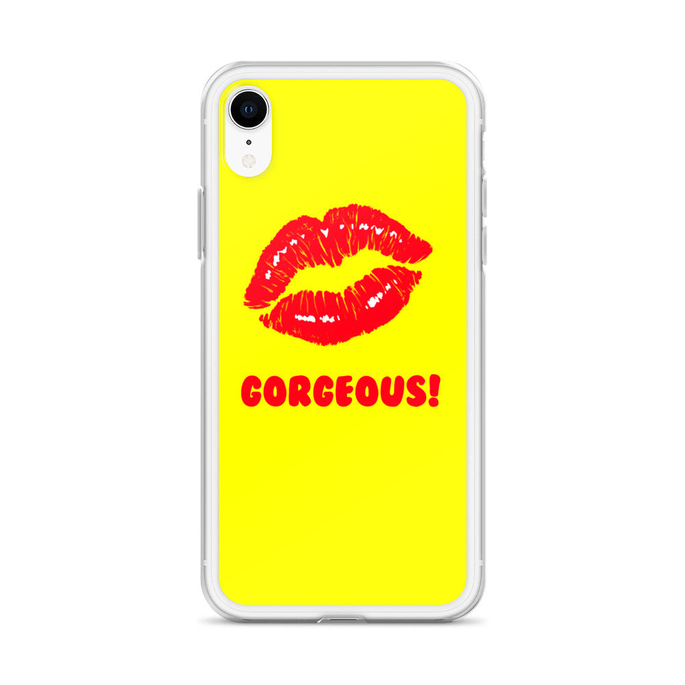Gorgeous!™ Yellow Background + Red Lips (Extrovert) iPhone Case