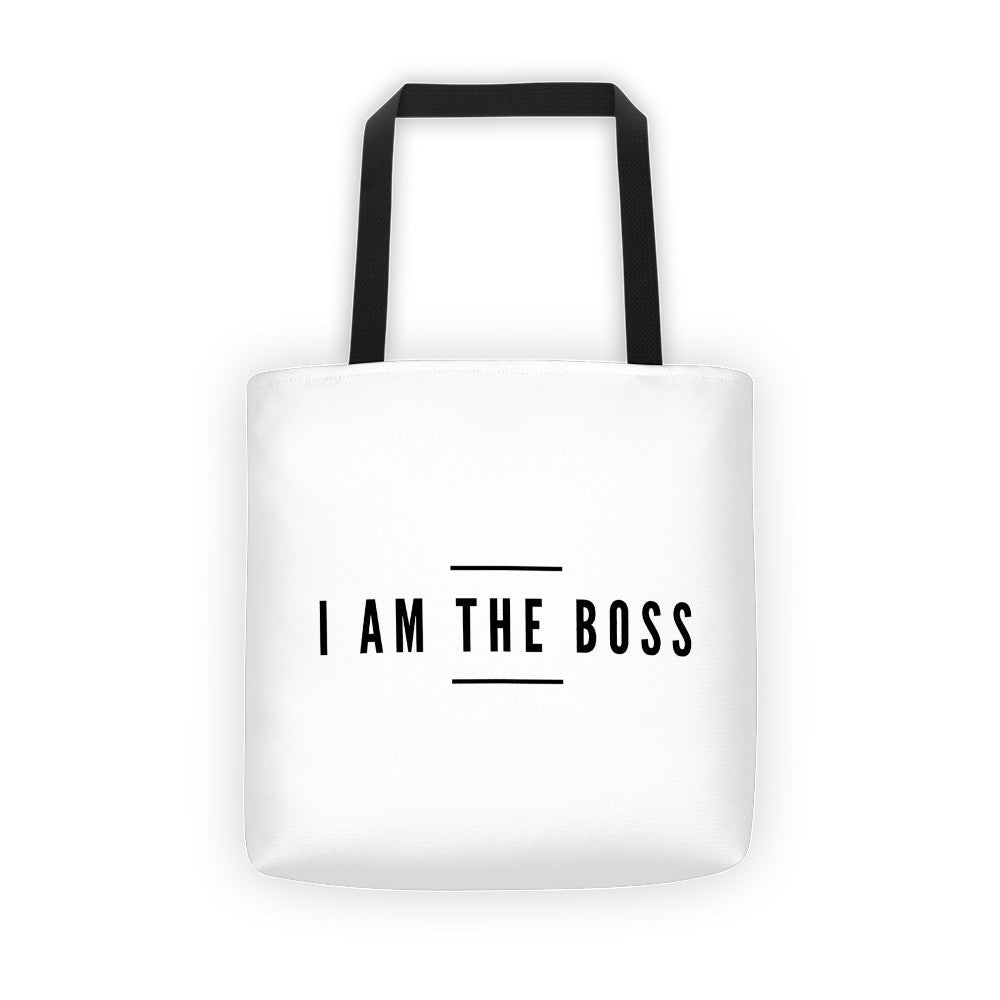 """I am the Boss"" white tote bag (between the lines design)"