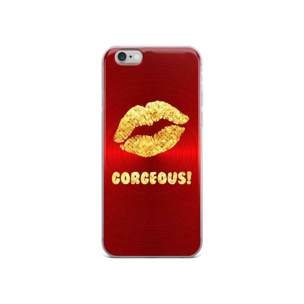 Gorgeous!™ Red Metal Background + Gold Gator Skin Lips iPhone Case