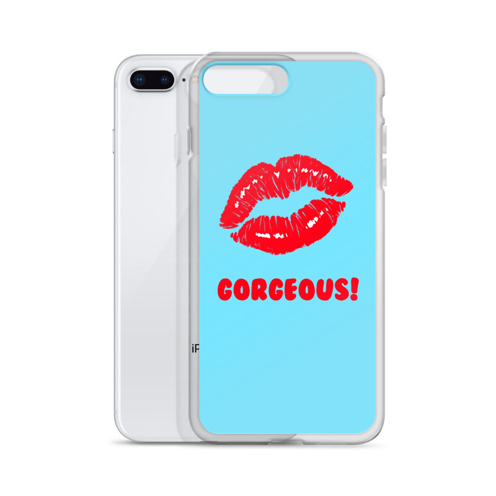 Gorgeous!™ Sky Blue Background + Red Lips iPhone Case