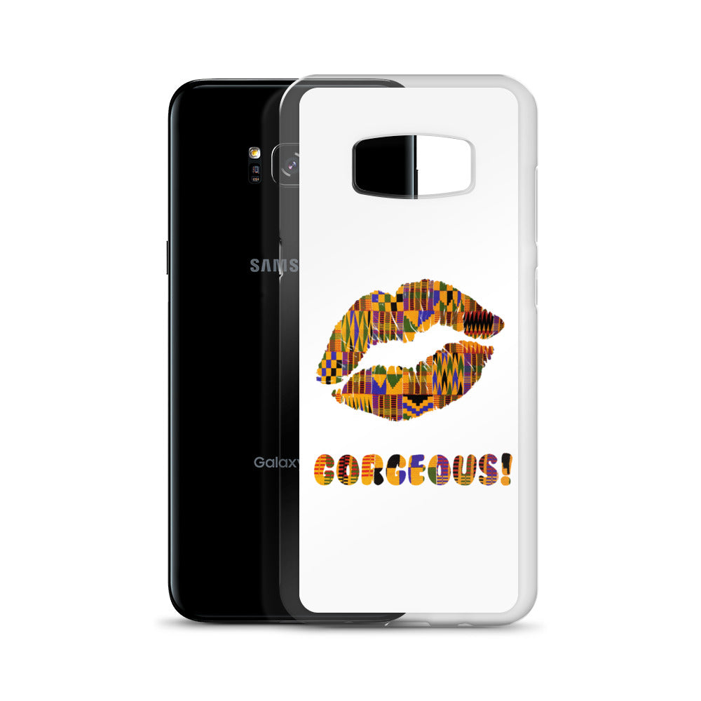 Gorgeous!™ White Background + Kente Lips Samsung Case