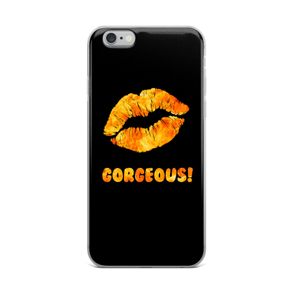 Gorgeous!™ (Black Background + Flames Lips) iPhone Case