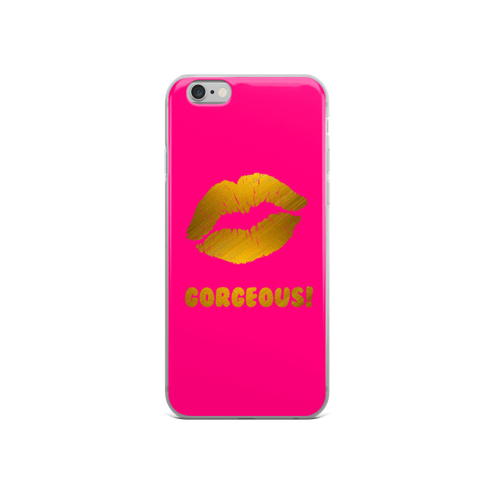 Gorgeous!™ (Neon Red Background + Gold Plated Lips) iPhone Case