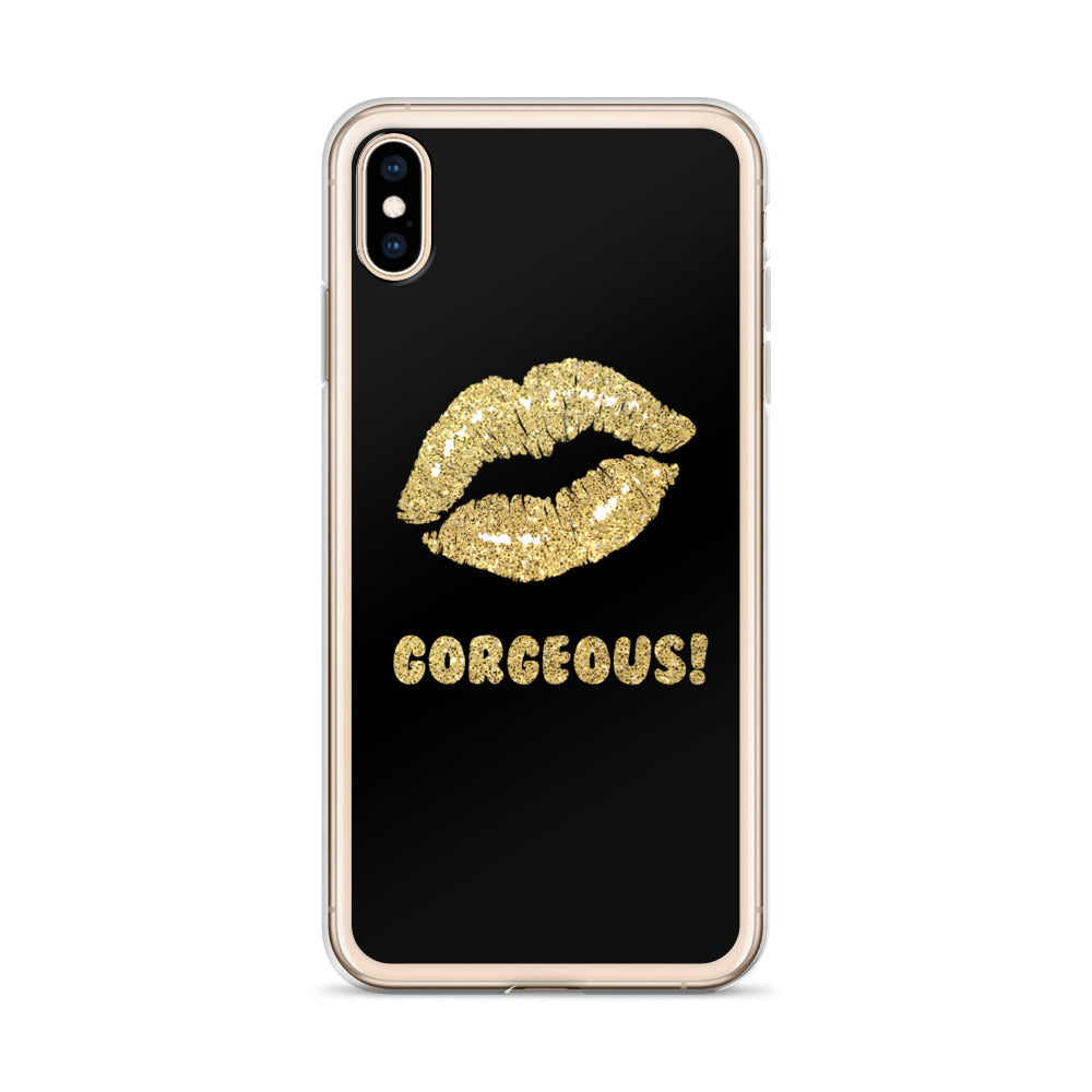 Gorgeous!™ (Black Background + Golddust Lips) iPhone Case
