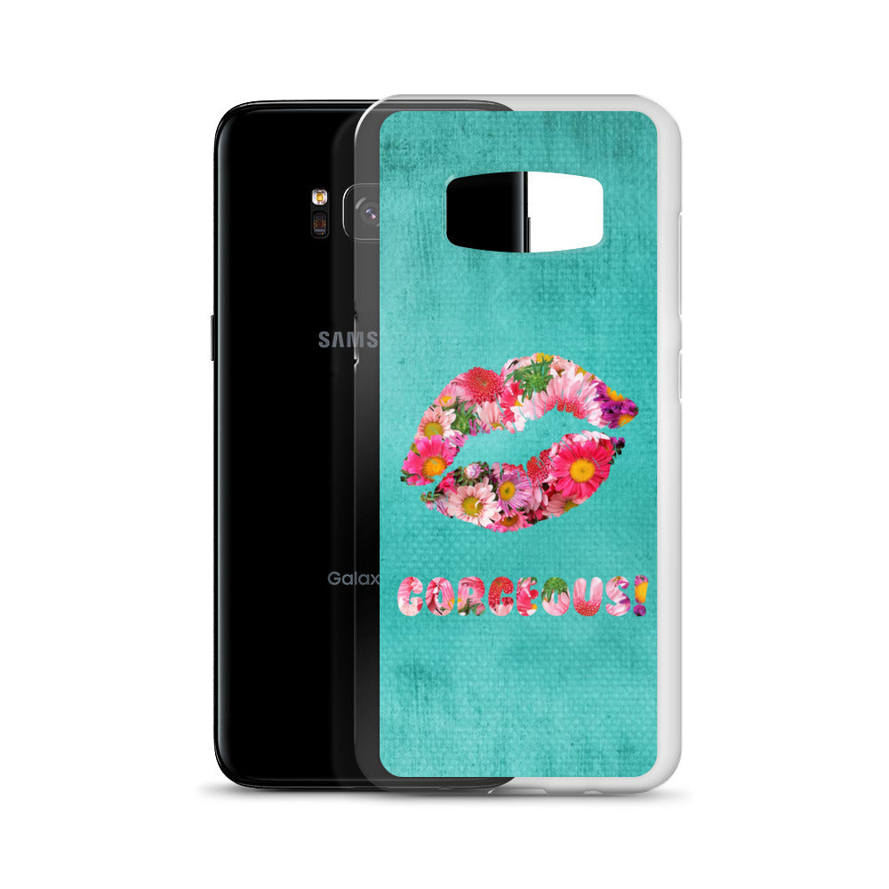 Gorgeous!™ (Turquoise + Pink and Violet Flower Lips) Samsung Case