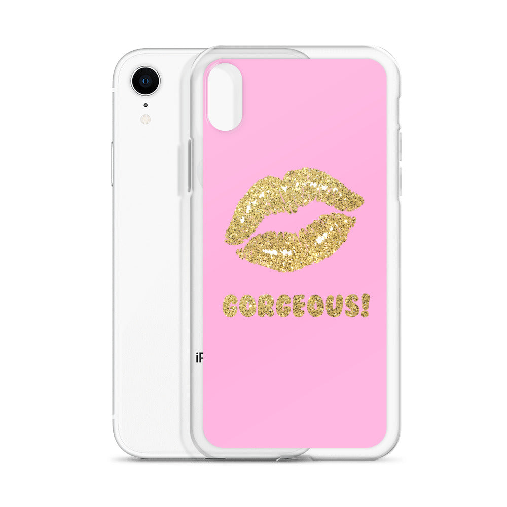 Gorgeous!™ (Faint Pink Background + Gold Dust Lips) iPhone Case