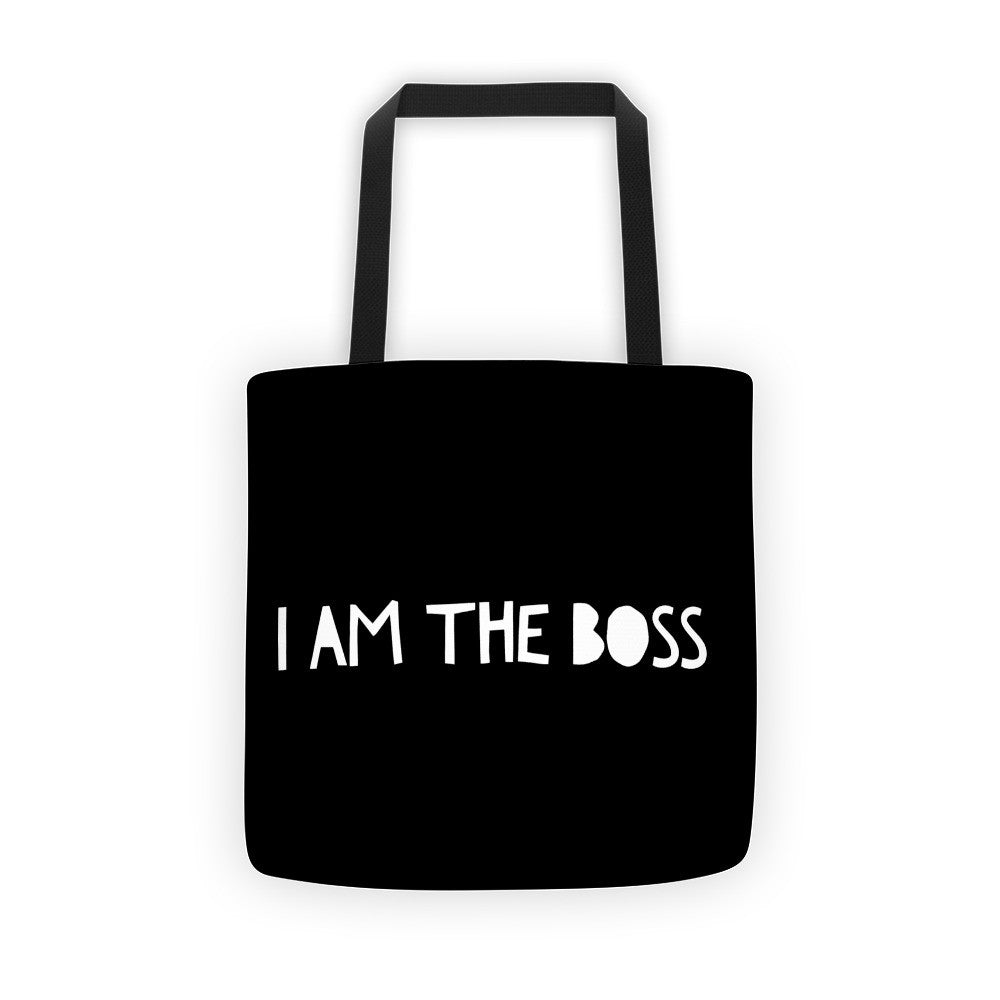"""I am the Boss"" black tote bag (comic relief design)"