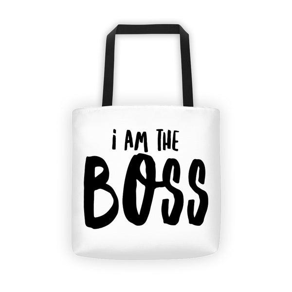 """I am the Boss"" white tote bag (comic relief style)"