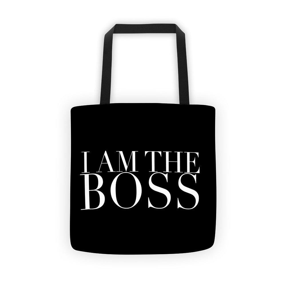 """I am the Boss"" black tote bag (classic design)"