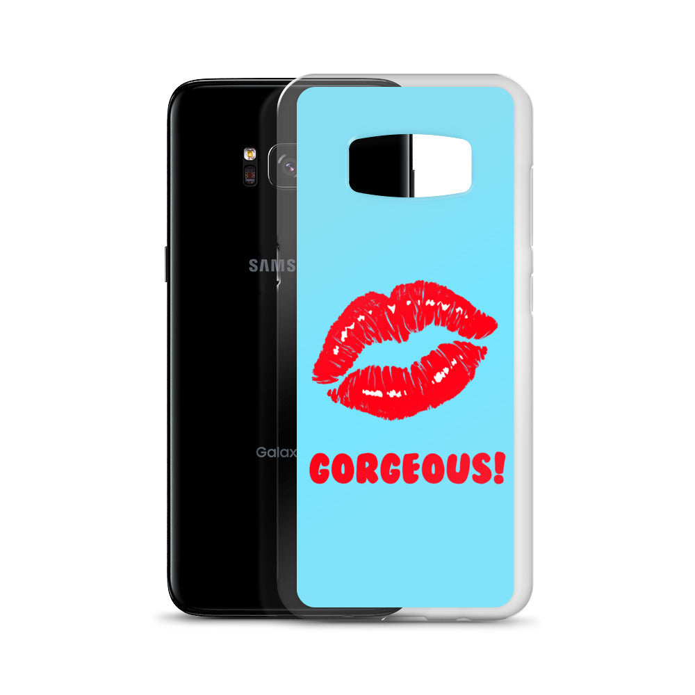 Gorgeous!™ Sky Blue Background + Red Lips Samsung Case