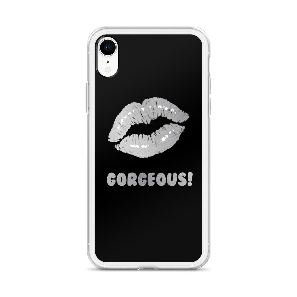 Gorgeous!™ (Black Background + Brushed Steel Lips) iPhone Case