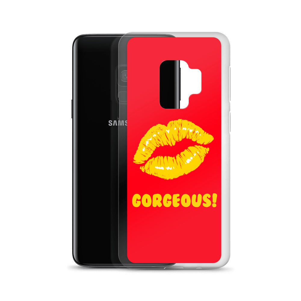 Gorgeous!™ Red Background + Golden Yellow Lips Samsung Case