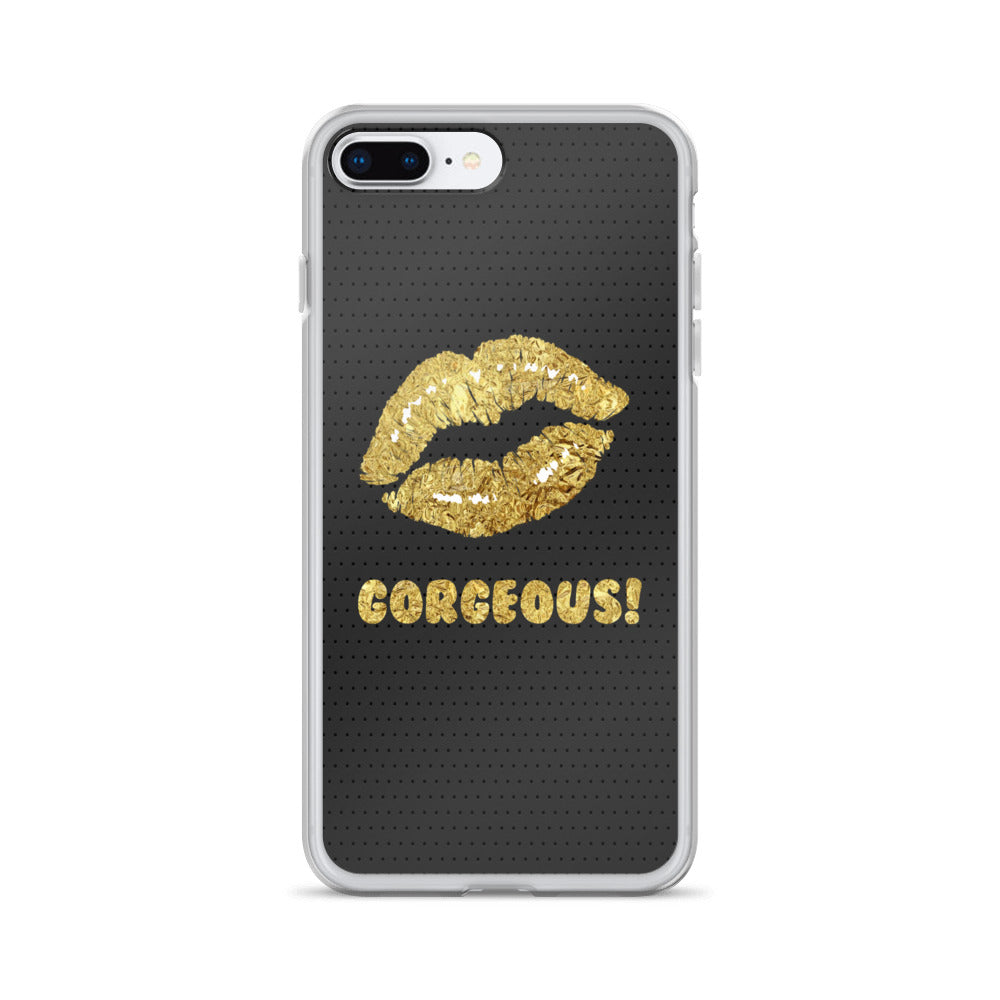 Gorgeous!™ Black Matte Background + Gold Foil Lips iPhone Case