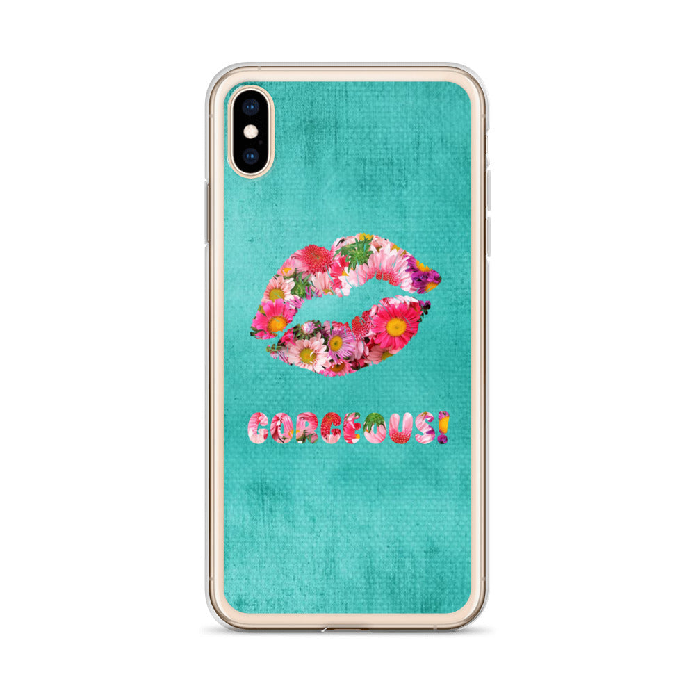 Gorgeous!™ (Turquoise + Pink and Violet Flower Lips) iPhone Case