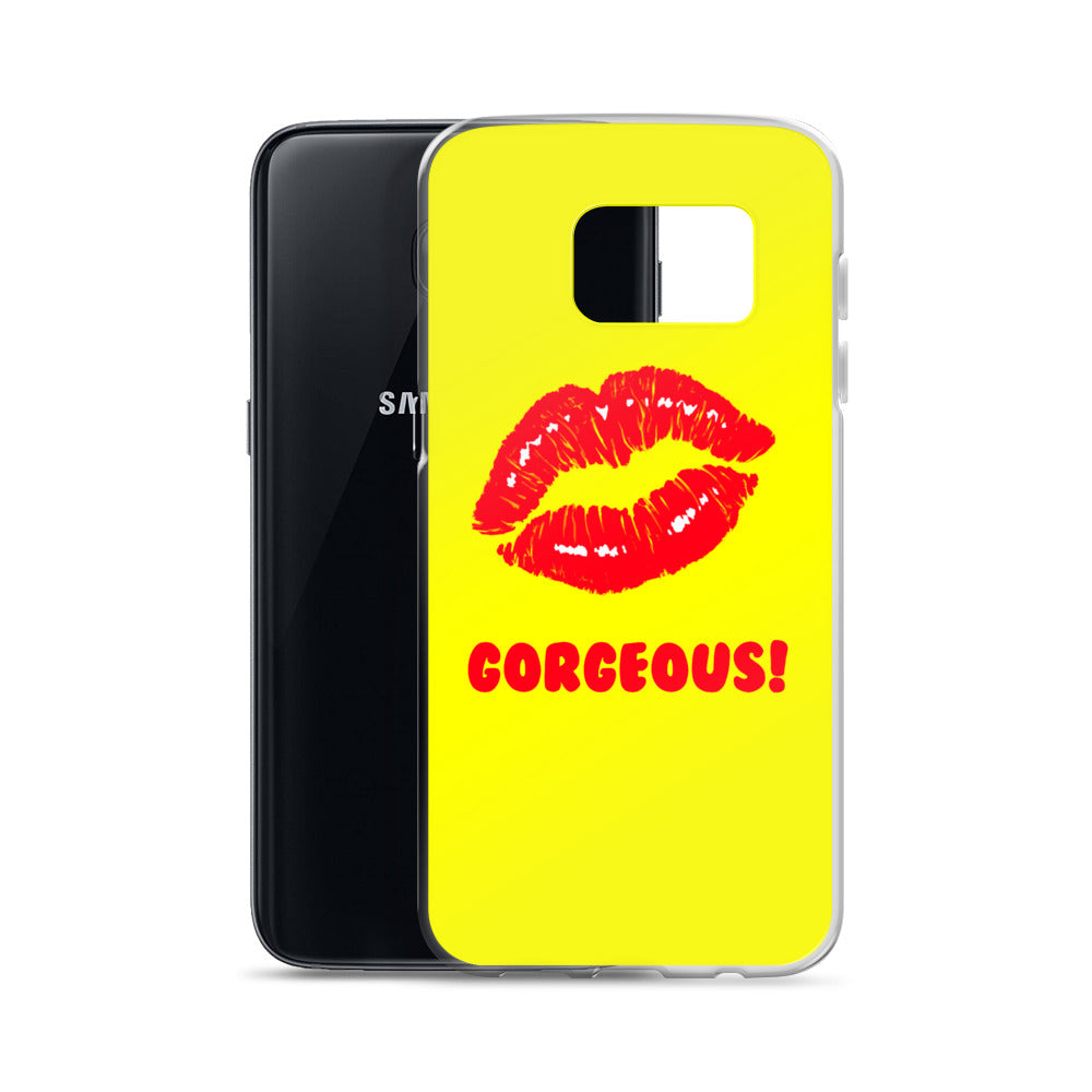 Gorgeous!™ Yellow Background + Red Lips (Extrovert) Samsung Case