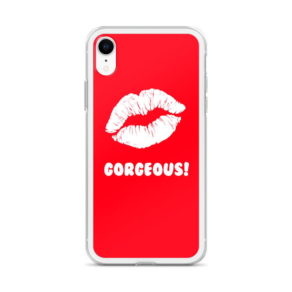 Gorgeous!™ Red Background + White Lips iPhone Case
