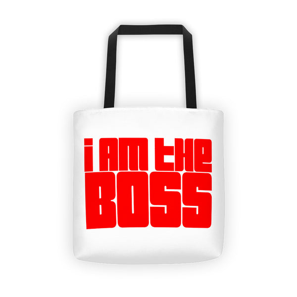 """I am the Boss"" white tote bag (red funky design)"
