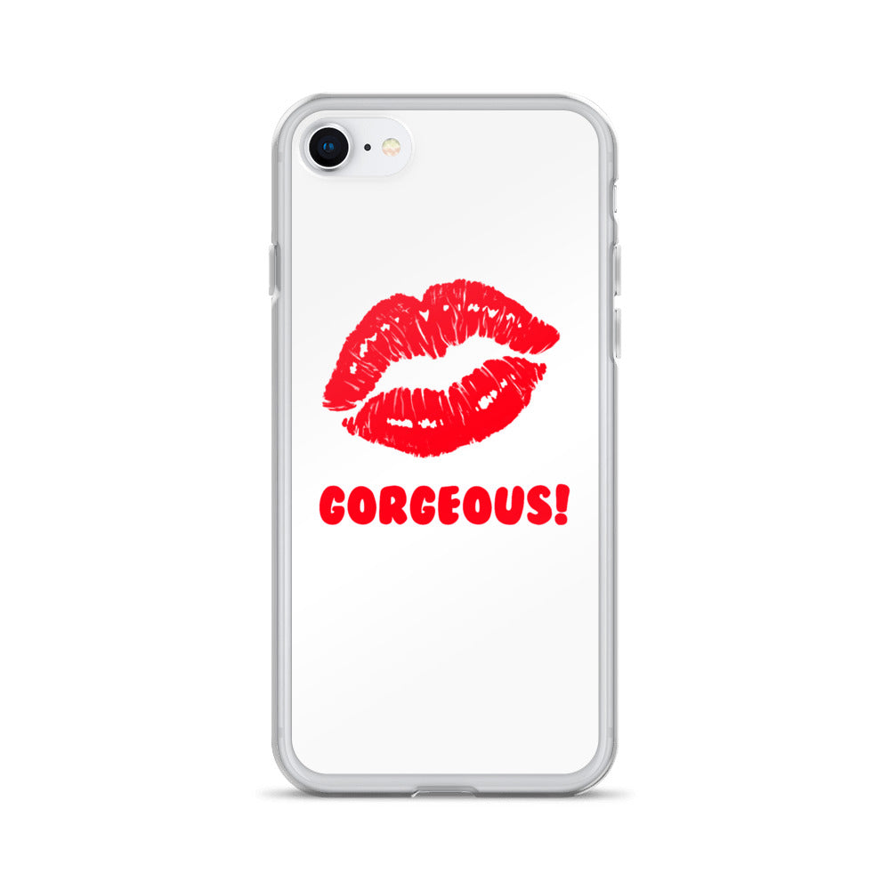 Gorgeous!™ White Background + Red Lips (Peppermint) iPhone Case