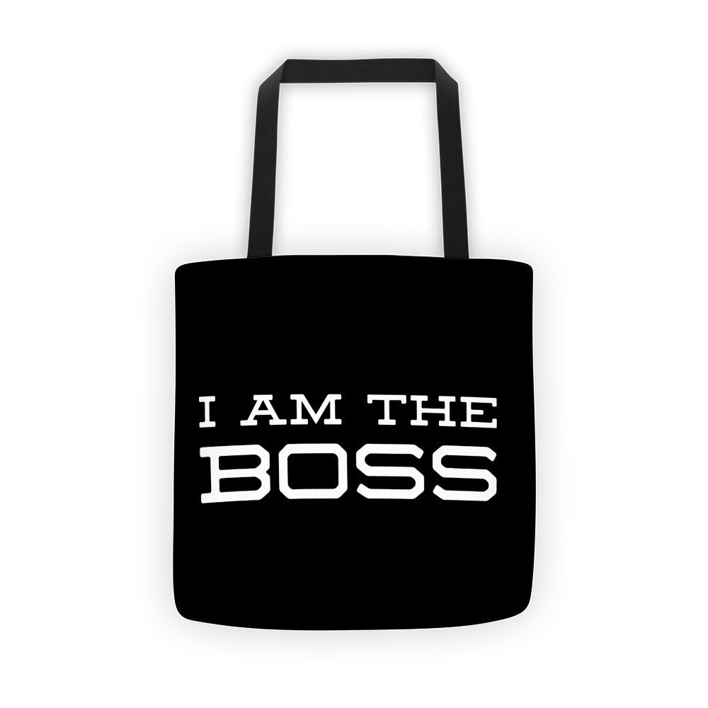 """I am the Boss"" black tote bag (trojan design)"