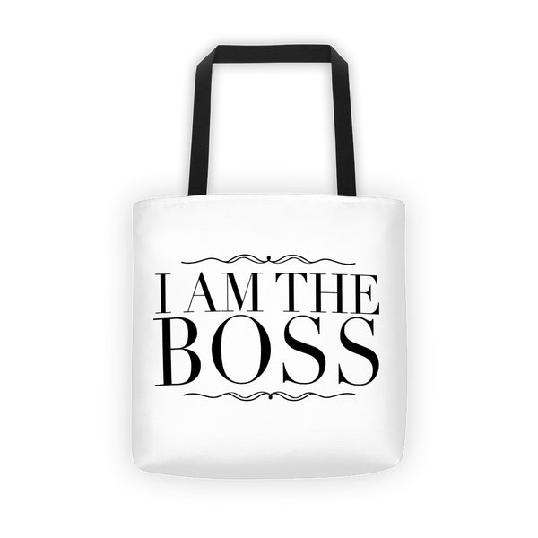 """I am the Boss"" white tote bag (victorian style)"