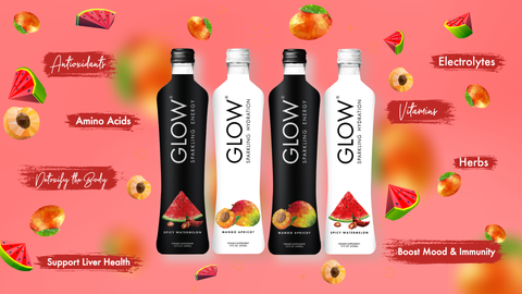 GLOW Sparkling Infused Beverages Glass Bottle Hydration Energy Mango Apricot Spicy Watermelon
