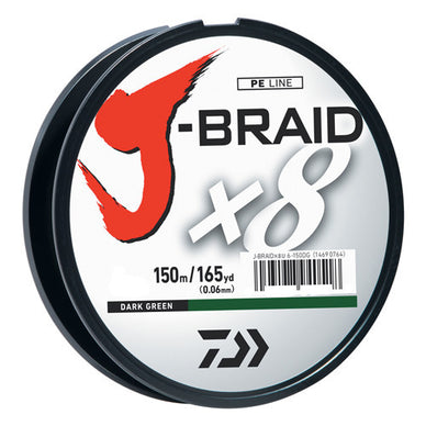 Daiwa J-Braid Braided Line - Dark Green ,165Yard