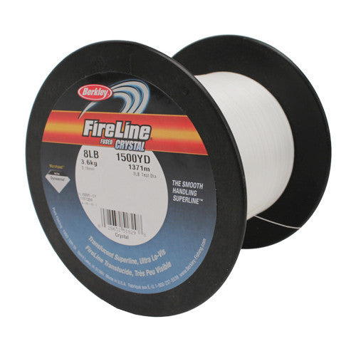 "Berkley FireLine Fused  SuperLine Crystal Line Spool 1500 Yards, 0.007"" Diameter, 8 lb Breaking Strength, 3 lb Super Line Mono Equiv"