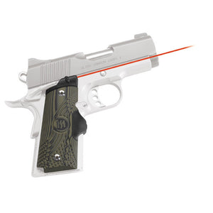 Crimson Trace 1911 Officer's/Compact/Defender G-10 Green/Black LaserGrip Front Activation, Compact