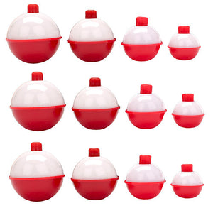 Eagle Claw Snap-On Round Floats, Red/White Assorted Sizes (Per 12)