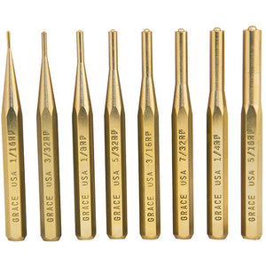 Grace USA Tools Brass Punch Set Roll Pin, 8 Pieces