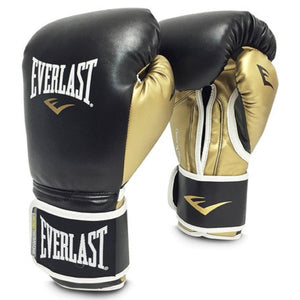 Everlast 14oz Men's Powerlock Hook/Loop Gloves Black-Gold
