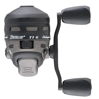 Shakespeare Synergy Ti Spincast Reel 6 Reel Size, 3.4:1 Gear Ratio, 2 Bearings, 6 lb Pre-Spooled, Ambidextrous